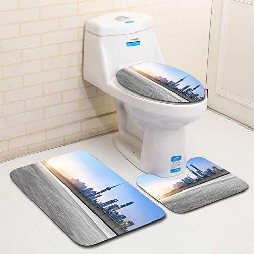 Auto Mayfair - MTSJTliangwan 3-Piece Bathroom Set, Bathroom Rug + Contour pad + lid Toilet seat, Professional use auto Advertising Backplate Comfortable Flannel Rug