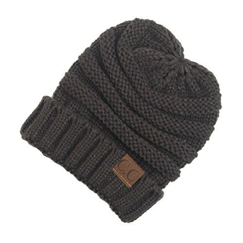ACTLATI Children's Ribbed Ski Winter Crochet Hat With CC Wool Knit Beanie Winter Outdoor Hemming Warm Caps Baggy Hat Dark Grey