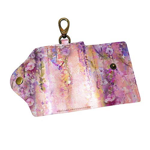 Anmarco Pink Violet Watercolor Flowers Painting Wisteria Tree PU Leather Car Key Chain Card Holder with 6 Hooks & 1 Keychain/Ring