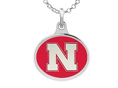 University of Nebraska Huskers Charm Pendant. Solid Sterling Silver with (Huskers Pendant Sterling Silver Jewelry)