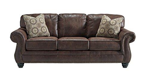 Espresso Faux Leather Sofa - Benchcraft - Breville Traditional Faux Leather Sofa - Espresso