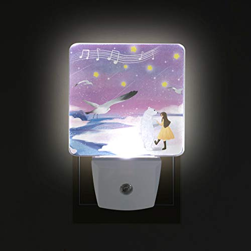 (Mr.XZY Cute Beer Snow Scene Lamp Lovely Animal Bird Young Girl Fresh Style for Kids Set of 2 Auto Sensor LED Dusk to Dawn Night Light Plug in Indoor for Adults 2010414)