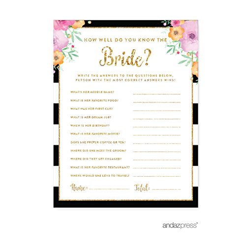 Labels Well (Andaz Press Floral Gold Glitter Print Wedding Collection, How Well Do You Know the Bride? Bridal Shower Game Cards,)