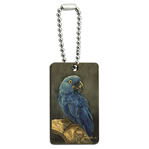 Hyacinth Macaw Parrot Wood Wooden Rectangle Keychain Key Ring