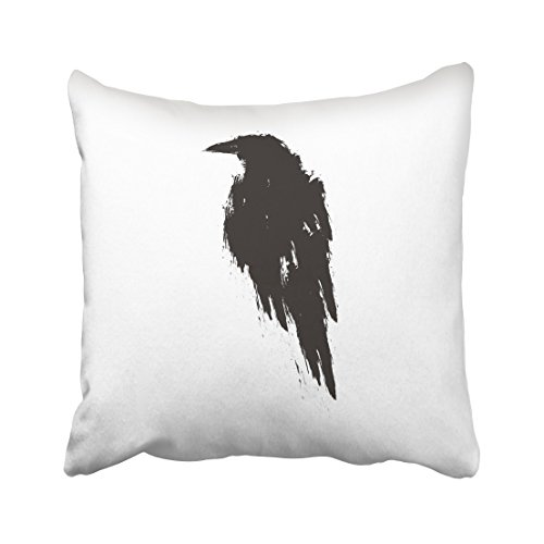 Emvency Ink Black Raven White Hand Drawn Crow Silhouette Feather Gothic Bird Animal Beak Cartoon Throw Pillow Cover Covers 16x16 Inch Decorative Pillowcase Cases Case Two Side -