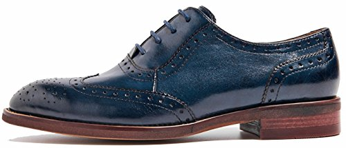 Perforated Wingtip Oxfords Women's Oxford U Brogues Shoes Leather Flat up Blue lite Lace Vintage ZEww18Tq