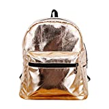 Cute Small Holographic Vegan Leather Casual Daypack- Mini Metallic Women's Travel Backpack or Toddler School Bag (Metallic Rose Gold)