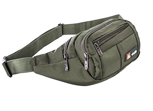 Exercise Packs - Waist Pack, ISADENSER Outdoor Sports Waist Bag, Bum bag, Running Exercise Runner Fitness Workout Hip Race Belt Fanny Pack, Workout Pouch With Zipper for Hiking, Climbing, Outdoor (Army Green)