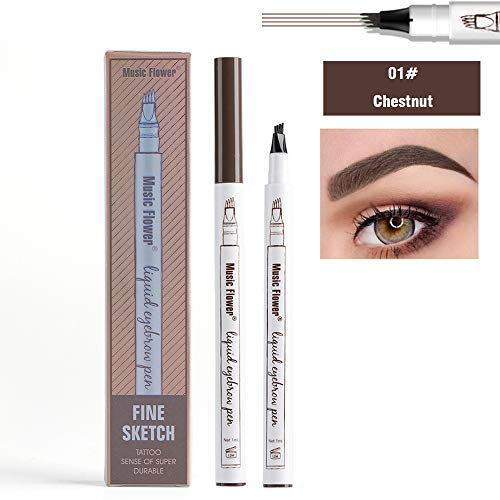 Waterproof Liquid Eyebrow Pencil with 4 Fork Tip, Music Flower Fine Sketch Liquid Eyebrow Tattoo Pen Smudge-proof and Durable - Multi Music