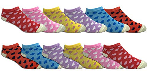 Women's Soft Lightweight Colorful and Fun Low Cut Socks - Assorted Styles (12 Pairs) (Hearts) ()