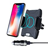 Hokone Wireless Car Charger Mount Automatic Charging Air Vent Cell Phone Holder Cradle for Samsung Galaxy iPhone X 8/8 Plus & Qi Enabled Devices (with Black Dual USB Car Charger)