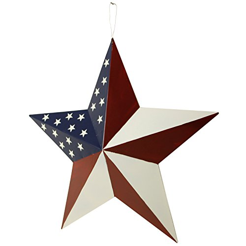 Y&K Decor Patriotic Old Glory American Flag Barn Star Rustic Metal Dimensional 3D Star 4th of July Wall Decor (21'') by YK Decor (Image #2)