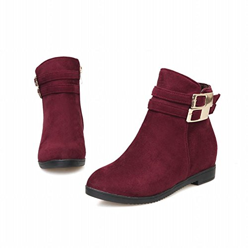 Latasa Womens Fashion Buckles Zipper Inside Wedge Heel Ankle Boots, Jodhpur Boots Red