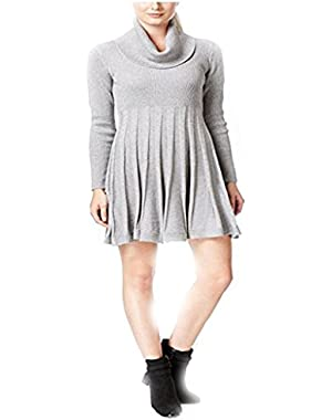 Calvin Klein Women's Gray Cowl-neck Fit & Flare Sweater Dress PL