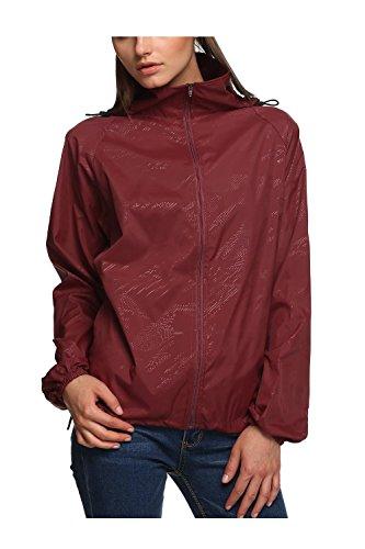 LANBAOSI Women's Lightweight Jacket UV Protect Active Outdoor Hooded Skin Coats Dark red Size XL