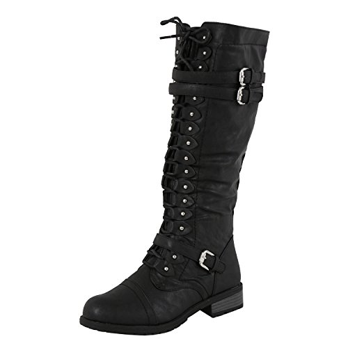 Wild Diva Timberly-65 Women's Fashion Lace Up Buckle Knee High Combat Boots, Color:Black, Size:8