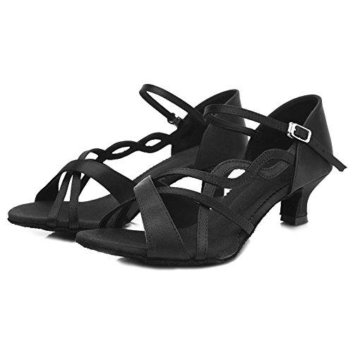 Hroyl Femmes Ty-b26 Satin Standard Chaussures De Danse Latine Salle De Bal Black1