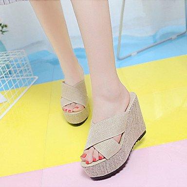 RUGAI-UE Moda de Verano Mujer sandalias casuales zapatos de tacones PU Confort caminar al aire libre,Negro,US7.5 / UE38 / UK5.5 / CN38 Almond