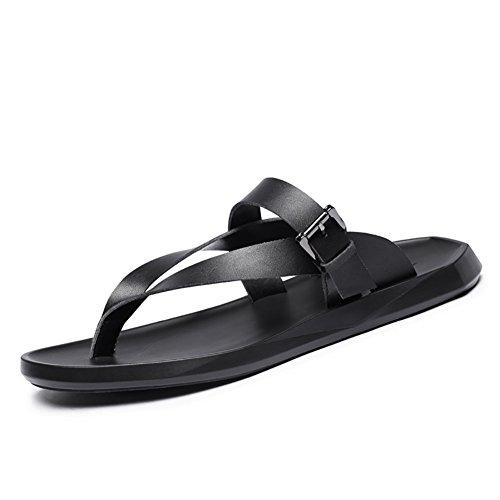 pelle in uomo tempo morbida da 43 confortevole 38 Sandali sandalo per 44 morbida taglia libero dimensioni spiaggia Nero estivo il Colore Nero qXwS0