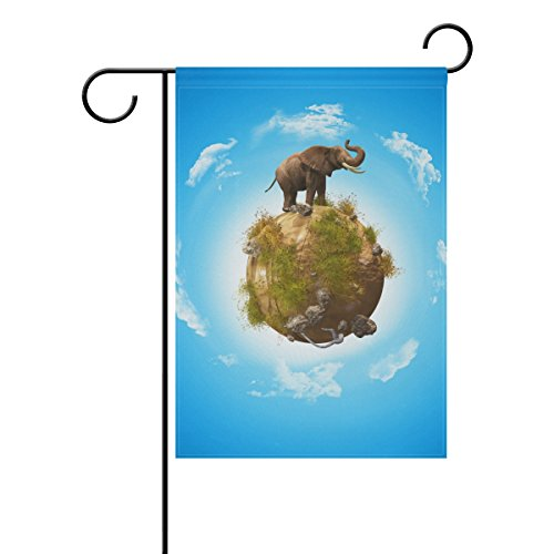 Blue Viper 3D Elephant On Grass And Rock Globe Garden Flag Waterproof Polyester Fabric and Mildew Resistant for Outdoor Lawn and Garden Double Side Print 12 x 18 - St Chicago Michigan