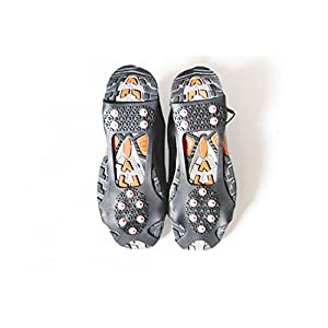 Mountain Made Snow and Ice Traction Cleats for Light Duty. Stabilizers For Multi Purpose-Running and Walking. (Black with Red Spikes, Large (Men 8-11) (Women 10-13))
