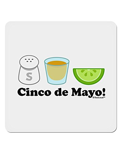TooLoud Cinco de Mayo Design - Salt Tequila Lime 4x4 Square Sticker - 4 Pack ()