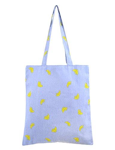 (POPUCT Cute Banana Pattern Canvas Tote Shopping Bag(A))