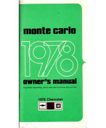- 1978 CHEVROLET MONTE CARLO Owners Manual User Guide