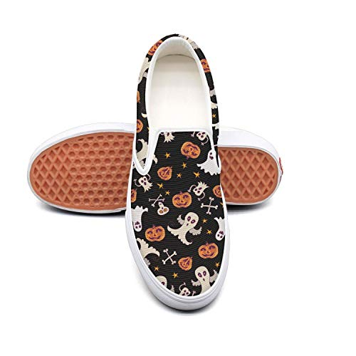 Sernfinjdr Women's Halloween Ghost Doodle Pattern Fashion Fashion Pattern Casual Canvas Slip on Shoes Print Golf Sneakers B07H5JPMQX Shoes 74a448