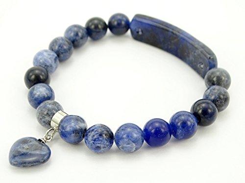 25 Beads Round 8mm (jennysun2010 8mm Natural Sodalite Gemstone Heart Bar Round Beads Stretchy Bracelet Healing Reiki Chakra 7