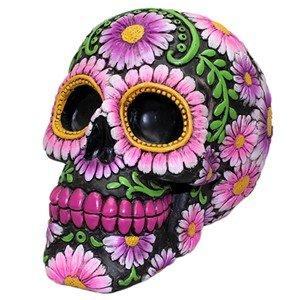(World Buyers Sugar Skull Coin Bank Purple Daisy 3.875x5.75x4.25 H)