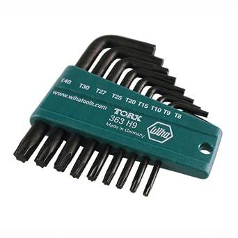 9 Piece Wiha 36393 Tamper Resistant Torx Short Arm L-Key Set