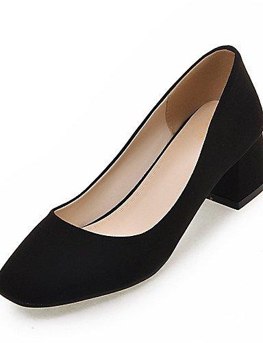 GGX/ Damenschuhe-High Heels-Kleid / Party & Festivität-Kunstleder-Blockabsatz-Quadratische Zehe-Schwarz / Grau / Beige gray-us8.5 / eu39 / uk6.5 / cn40