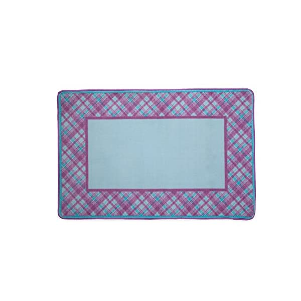 Delta Children Soft Kids Area Rug for Girls, (2.5 Foot X 4 Foot), Plaid/Purple, Pink & Turquoise