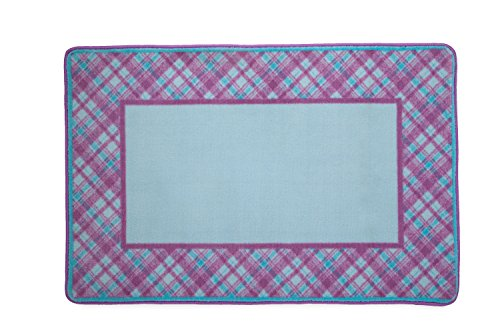 Kids Area Rug, Girls Purple and Turquoise Plaid | Children's Room Carpet | Delta Children]()