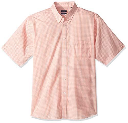 IZOD Men's Regular Fit Short Sleeve Check Dress Shirt, Tangerine, 16