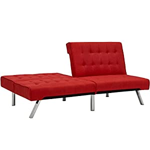 Best Choice Products Modern Linen Reclining Futon Sofa Couch Lounger Sleeper Furniture w/Chrome Legs - Red