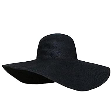 KUU Black Women's Ridge Wide Floppy Brim Summer Beach Sun Hat Straw Cap Party Garden Travel for Set of 1pcs