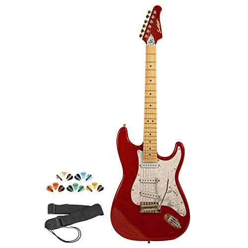 Sawtooth ST-ES-CARP-KIT-1 Candy Apple Red Electric Guitar with Pearl White Pickguard - Includes Strap, Picks and Online Lesson