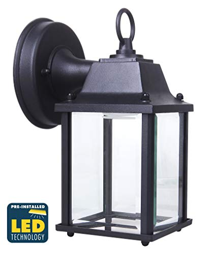 CORAMDEO Outdoor LED Wall Sconce Light for Porch, Patio, Barn and More, Wet Location, Built in LED Gives 75W of Light from 9.5W of Power, Durable Cast Aluminum with Black Finish & Beveled Glass