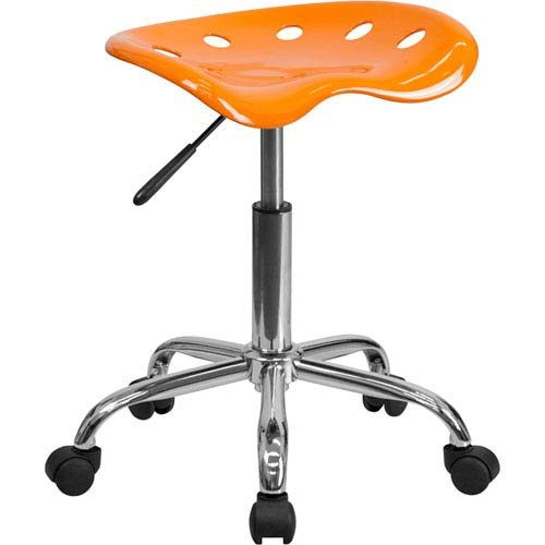 Parkside Vibrant Orange Tractor Seat and Chrome Stool by Parkside