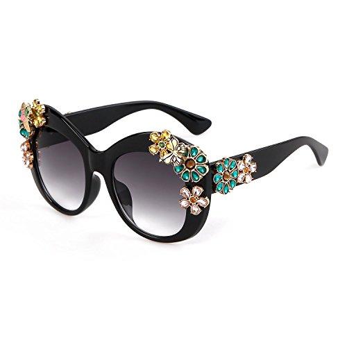 Guoxuan Women's Luxury Butterfly Crystal Flower Sunglasses Black