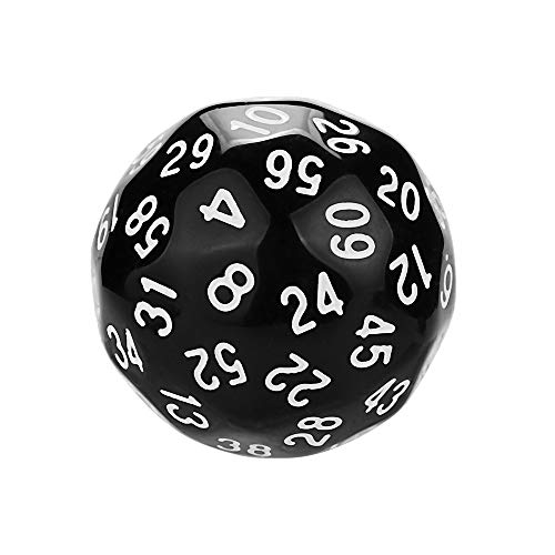 Gotian 1Pcs Game Dungeons & Dragons Polyhedral D60 Multi Sided Acrylic Dice - Show off your Gaming Skills with These Multi Sides Dices - 1pcs Dices in One Set (3.5cm/1.7inch) (Black)