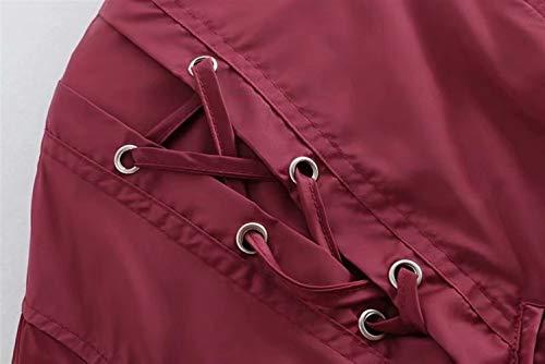 Manga Invierno ZFFde Cuello con larga delantera Color Chaqueta bolsillos cordón tamaño Red Cremallera alto con Mujeres M 8RRqw