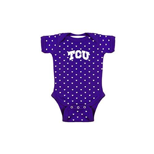 TCU Texas Christian University Horned Frogs NCAA College Newborn Infant Baby Heart Creeper (0-3 Months) Purple, White