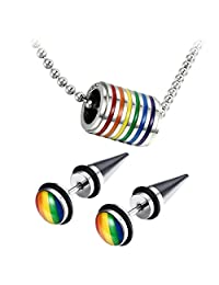 Assorted Gay LGBT Pride Rainbow Pendant Necklace,2pcs 8MM Punk Rock Rivet Earring Studs,Hypoallergenic