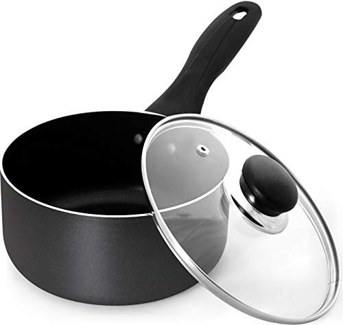 Utopia Kitchen 2 Quart Nonstick Saucepan with Glass Lid - Induction Bottom - Multipurpose Use for Home Kitchen or Restaurant