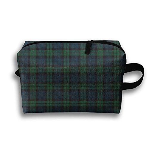 Doppyee Black Watch Plaid Makeup Bag, Storage Bag, Digital 3D Printing Cosmetic Bag,travel Sundries Bag, Portable ()