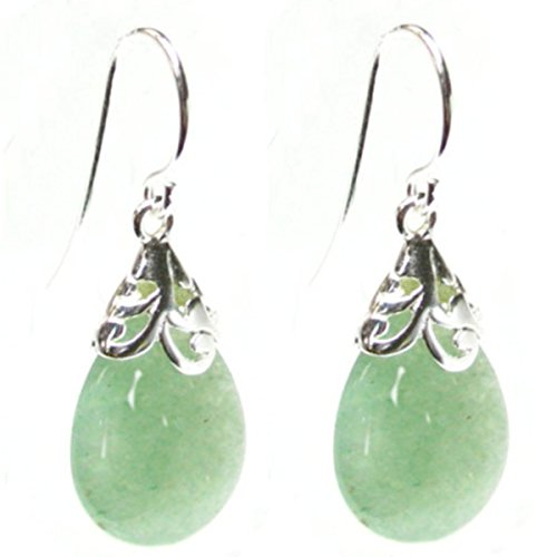Natural Aventurine Green Teardrop Sterling Silver Filigree Flower Bail and French Hook Earwires Dangle Earrings (Earrings Zable)