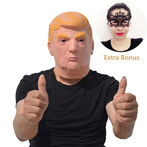 (Halloween Party Costume Donald Trump Latex Mask Plus Extra Bonus Sexy Black Lace Masquerade)